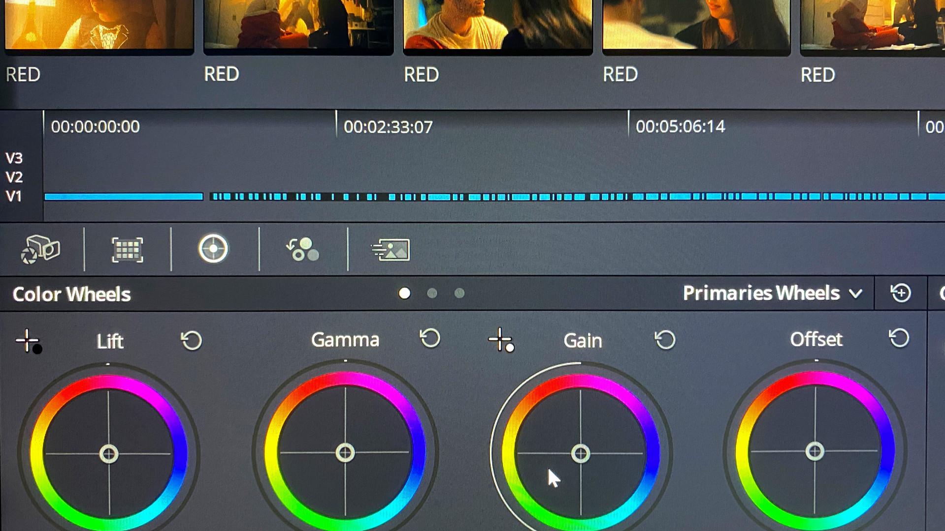 DaVinci Resolve Colour Wheel