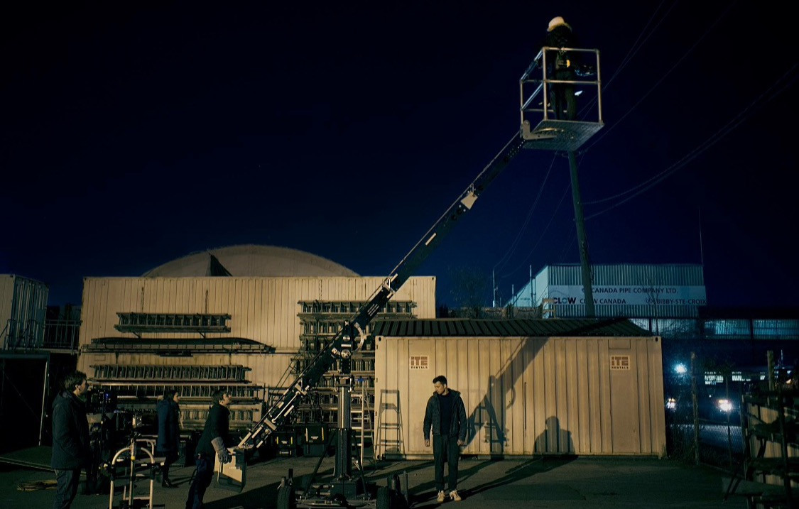 Exterior Crane Night Shot
