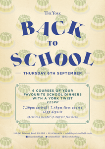 Poster for Back To School Supper Club at The York