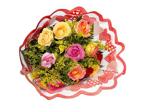 Buquê Colorido 12 Rosas