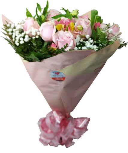 Buquê com 12 rosas rosa, folhagem, astro