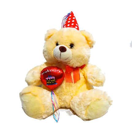 FE-6442 urso pelúcia parabéns 35cm