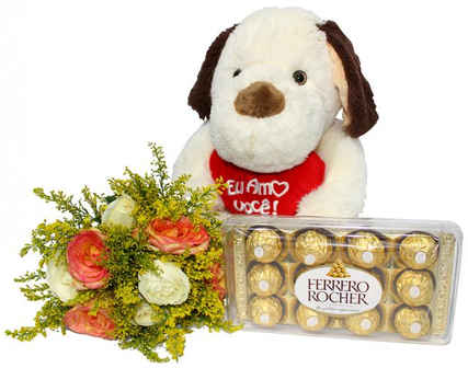 Arranjo mais Pelúcia e bombons Ferrero Rocher