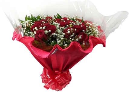 Buquê com papel crepom  24 rosas, folhagens,tango e GIPSONFILA