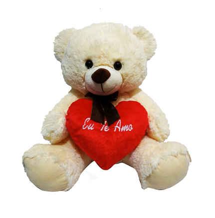 F-1457 urso pelúcia segurando coração 45cm