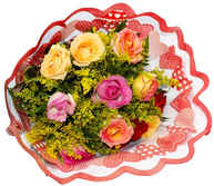 12 rosas coloridas tradicional