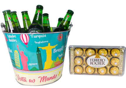 Dt 1213 balde com 08 cervejas Heineken 330ml+cx. Bombons Ferrero Rocher com 12 unidades