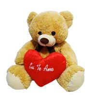 F-1457 urso pelúcia segurando coração 45 cm