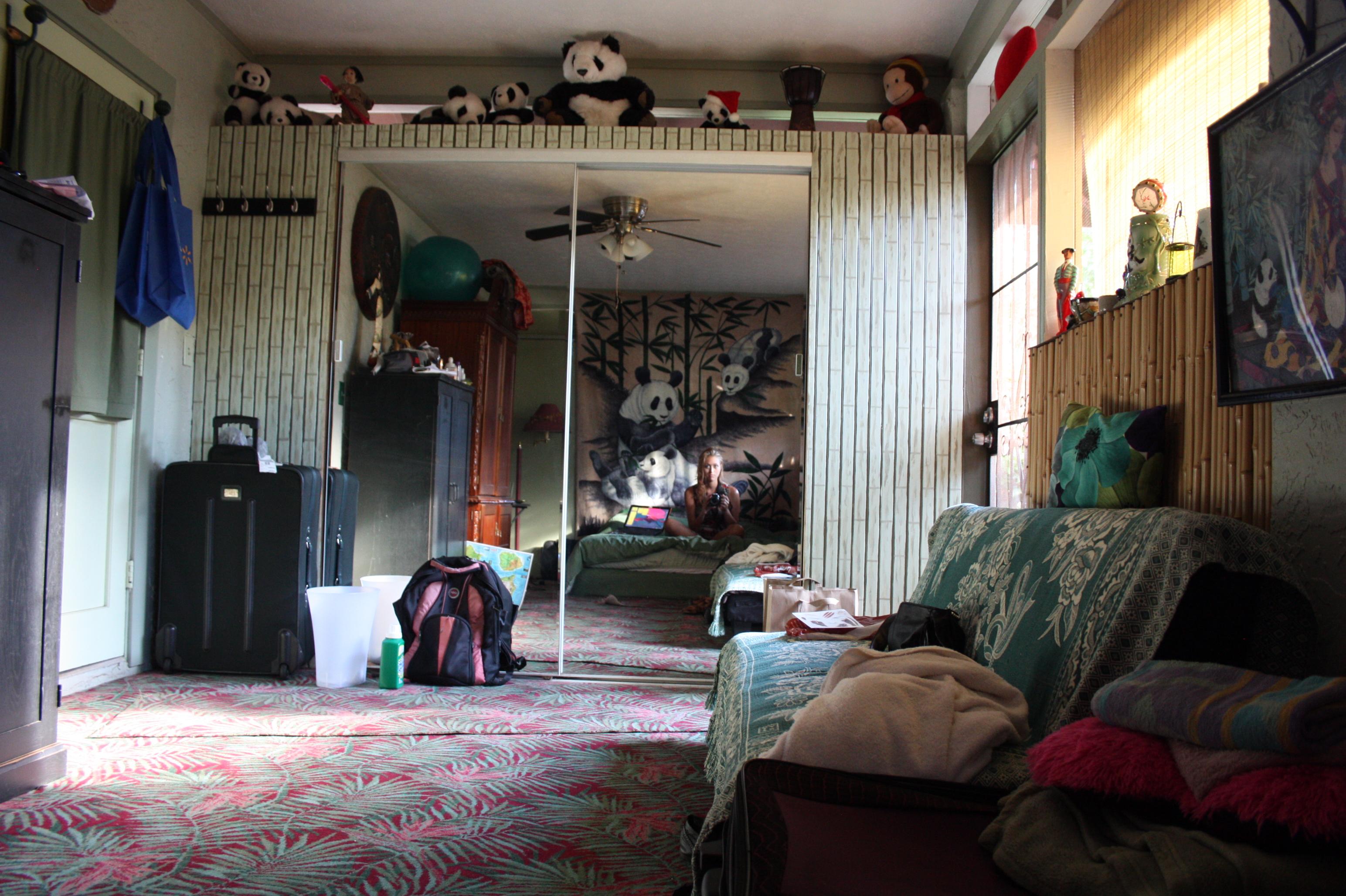 Panda room, žiadne okná len sieťky