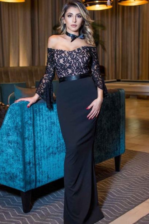 Saint A Eiva Black Lace Bardot Maxi Dress