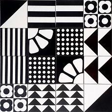 קרמיקה מודפסת בצורות גרפיות 10/10 למטבח בשחור ולבן