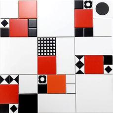 משחק דרמטי בדוגמאות וצבעים - אדום שחור ולבן