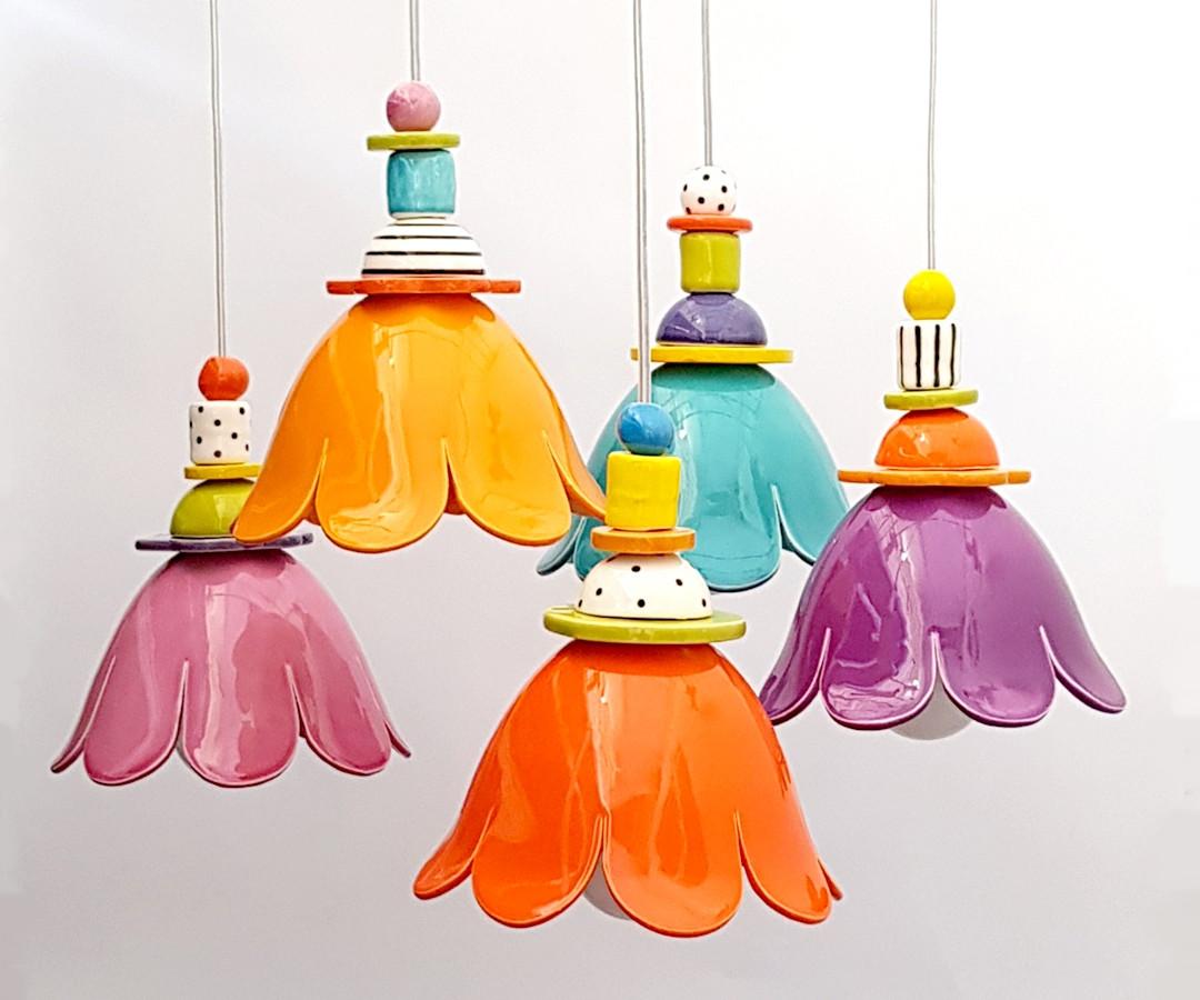 5 פרחים פעמונים צבעוניים מנורות קרמיקה (