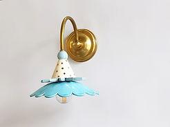 """דגם 20 - מנורה מיוחדת לקיר - טורקיז זהב תכלת ופליז - 580 ש""""ח"""