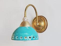 """דגם 1 - מנורת קריאה טורקיז פליז וזהב - קוטר 14 ס""""מ - 590 ש""""ח"""