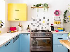 אריחים בשחור לבן , עיצוב פנים רונה קינן-פיש במטבח בהוד-השרון