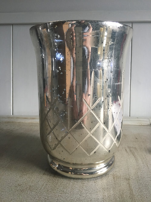 hurricane vase candle holder silvery/golden glow etched H20.5cm