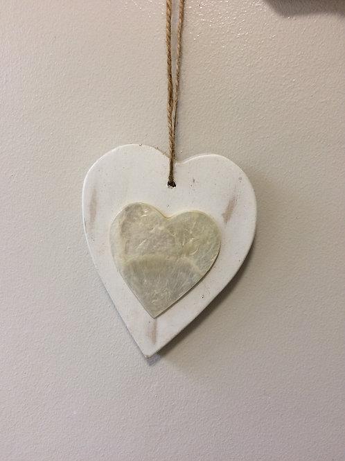 heart hanging white capiz  h130xw95mm