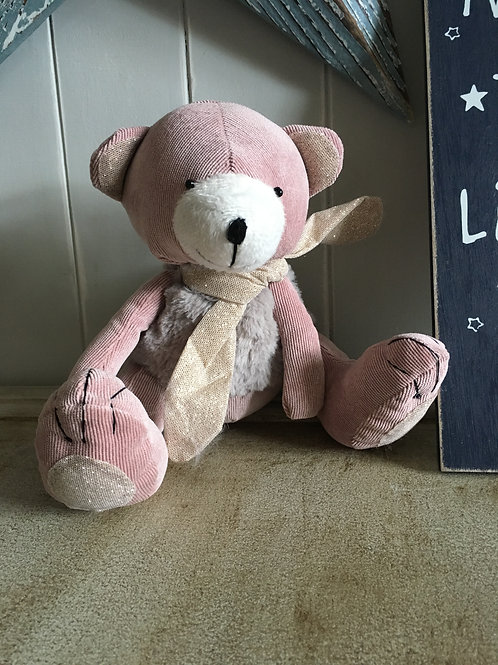 pink corduroy bear not child safety not a toy just for decor H27cm sitting H19cm