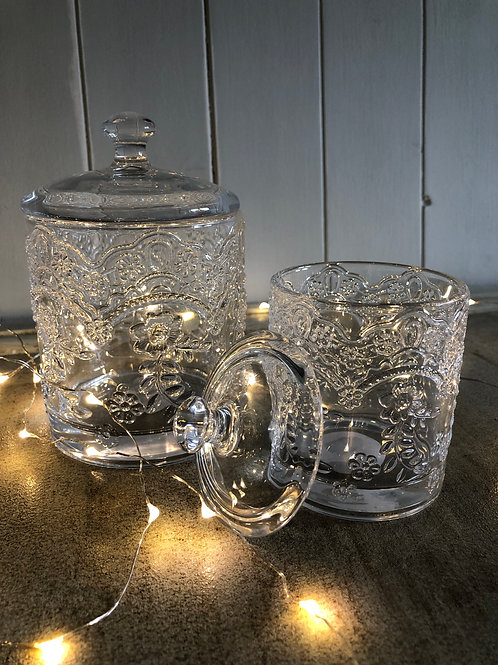 embossed glass jars storage home decor vanity bathroom H14cm W9cm H11.5cm W7cm