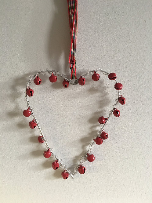 Red bell heart shape hanging decoration, with red tarton
