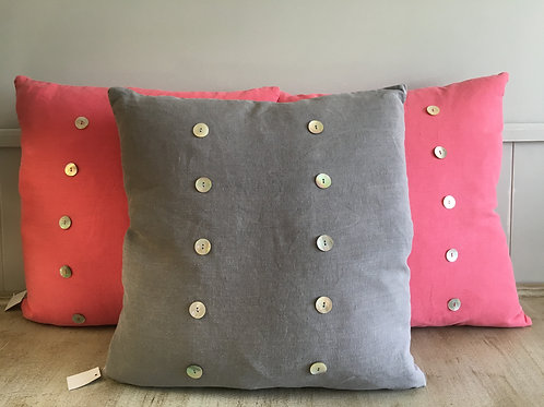 light grey linen buttoned cushion large W50cm  H50cm  duck filled pillow