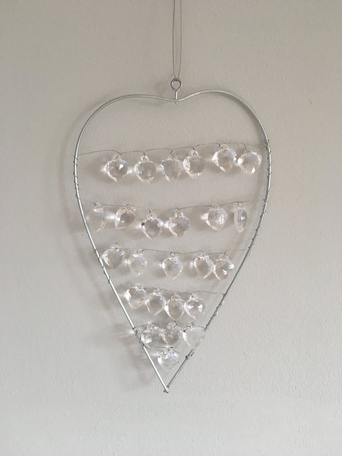Hanging heart with heart droplet's home decor decoration H19cm W11.5cm approx