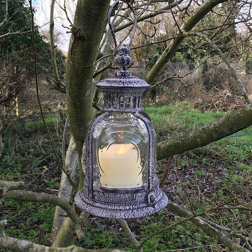 fleur de lys lantern candle holder home decor garden H27cm metal and glass