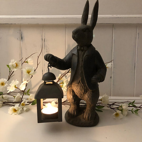 hare with lantern home decor or garden tea light holder ornament statue H33cm