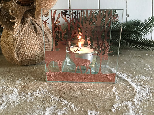 Reindeer scene tea light holder rose gold and silver 10cm square