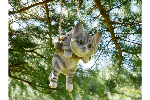 tabby cat hanging on a swing H47cm W14cm D15cm