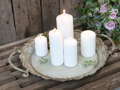 french country rose distressed metal candle tray dining platter L48cm D40cm H5.5
