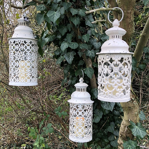 set of 3 vintage style moroccan metal lantern's off white rustic finish home dec