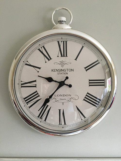 large silver pocket watch wall mounted clock size l42cm approx vintage retro