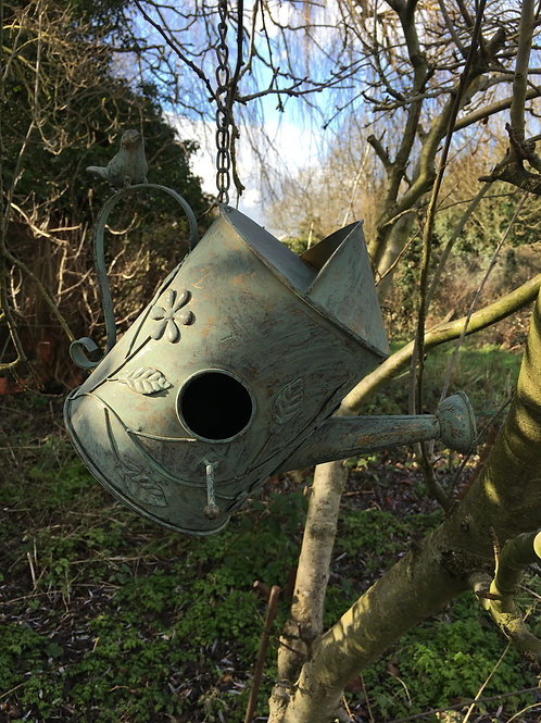 bird nest box hanging watering can metal H21cm