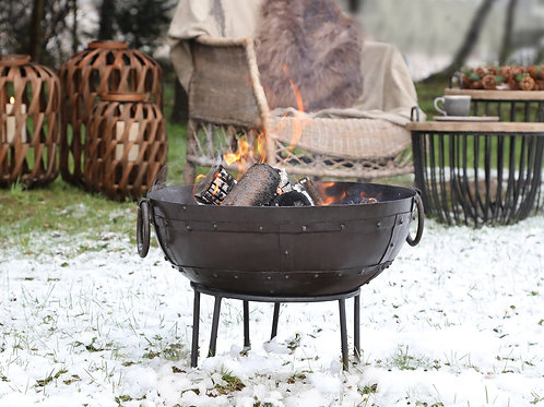 fire bowl on stand garden mild steel H35.5cm Diameter 51cm  bowl D20cm