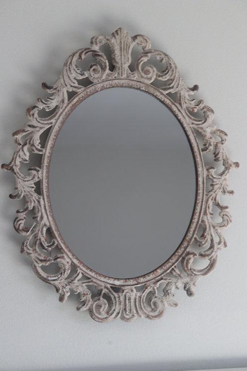 Fleur de lis metal framed mirror H32.5cm
