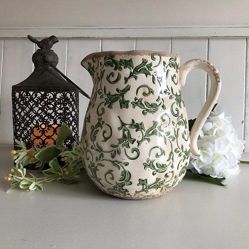 ceramic jug/pitcher vase green floral  vintage style crackle glazed