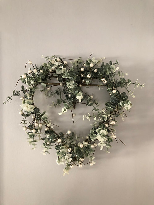 eucalyptus pearl berry wreath artificial heart shape 40cm