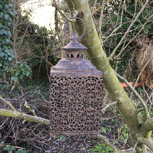 moroccan/moorish lantern square metal candle holder home decor garden H26cm