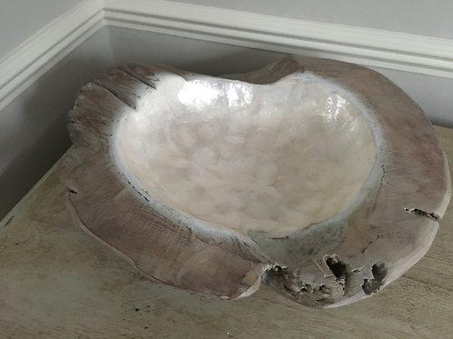 bowl organic white capiz d500xh200mm natural