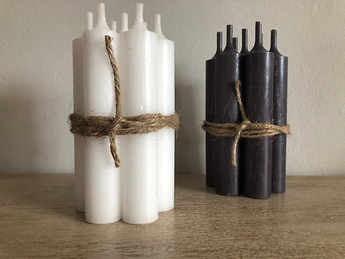 bundle of 7 short dinner candles H11cm W2cm white or charcoal grey
