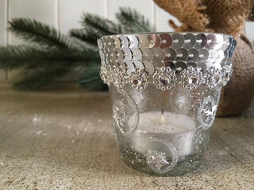 candle holder silver small tea light holder H6.5cm W6.5cm decorated