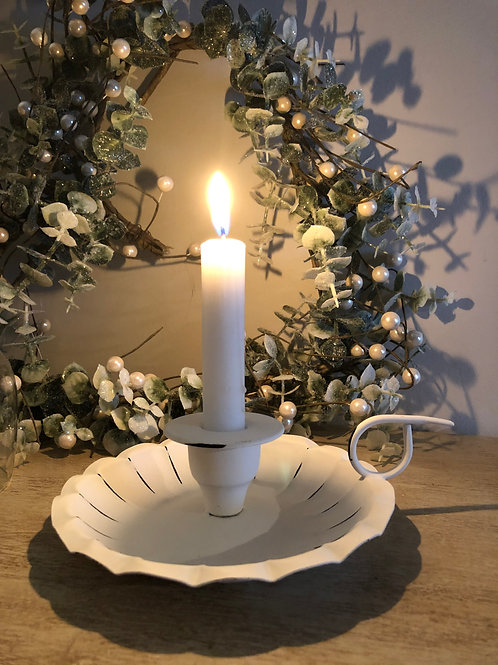chamberstick candle holder white metal H5.5cm W20cm