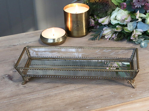 etched glass and brass metal tray L27.5cm D10cm H5cm home decor