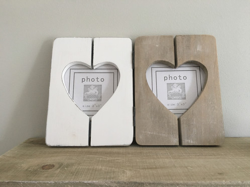wooden rustic double heart photo frame folding hinged 21cm app to ...