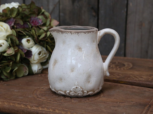 french country ceramic jug with handle crackle glaze H15.5cm W17.5cm dining