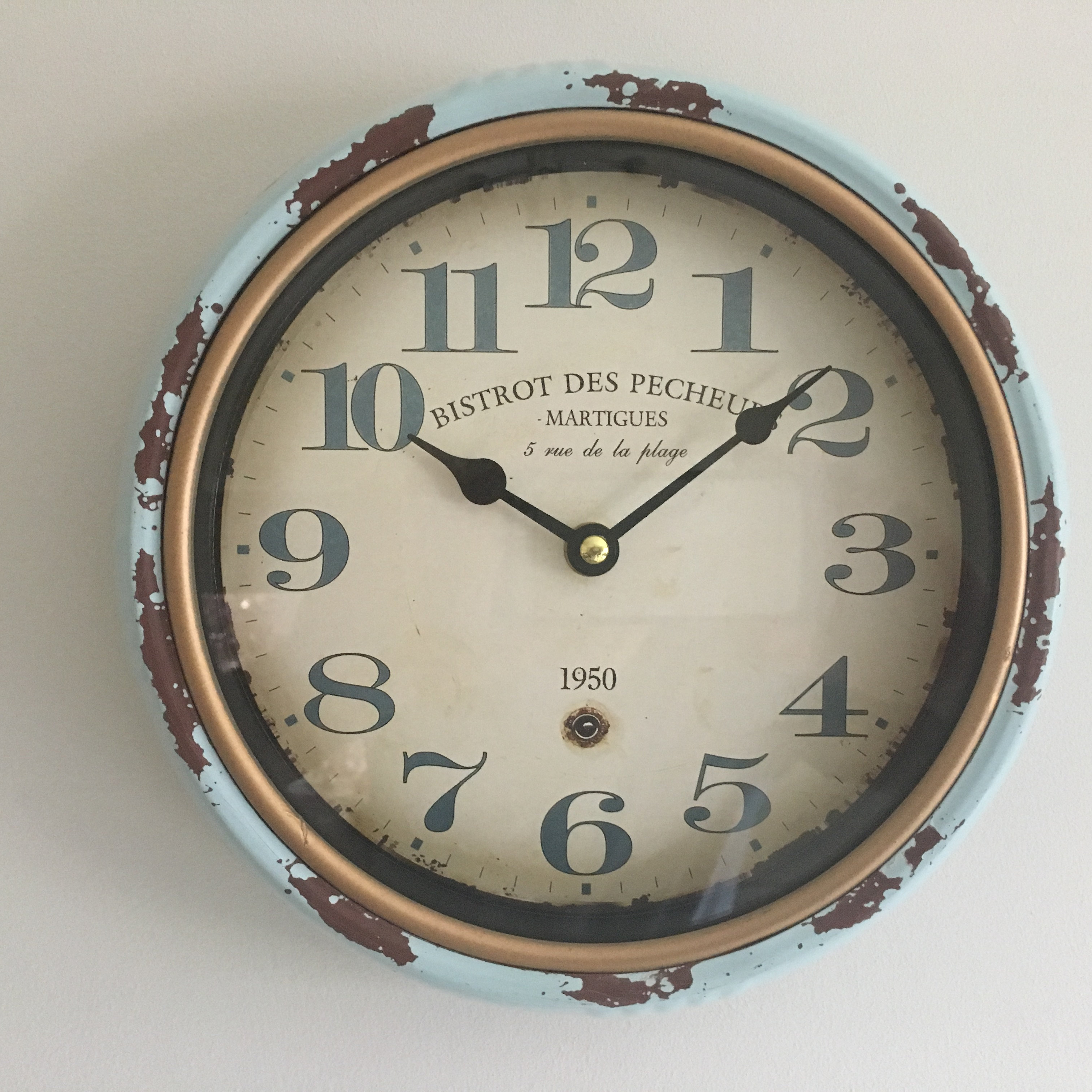 Love your homeine home accessorieshome decortlt holders a light blue distressed metal wall clock with brown rusty underlay and gold rim a vintage retro look which will look good anywhere in your home amipublicfo Image collections