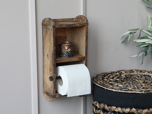 toilet roll holder wall mounted wooden brick mould H30 W14.5cm D9cm