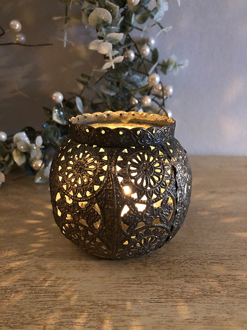 moroccan style metal candle holder H9cm W10cm W7cm at the top